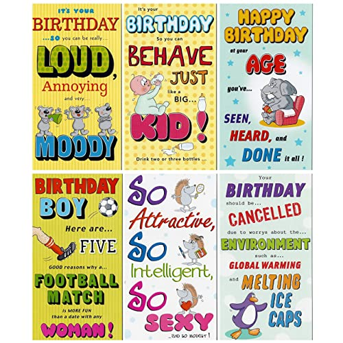 12 Humorous Happy Birthday Cards Envelopes Assorted Designs