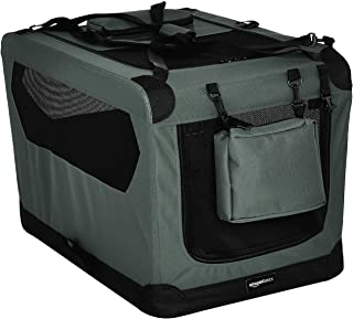 AmazonBasics Premium Folding Portable Soft Pet Dog Crate Carrier Kennel - 30 x 21 x 21 Inches, Grey