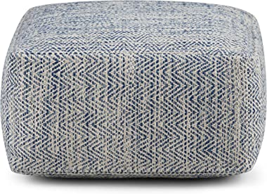 SIMPLIHOME Nate Square Pouf, Footstool, Upholstered in Patterned Denim Melange Hand Woven Cotton, for the Living Room, Bedroo