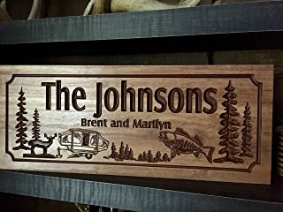 Camping signs RV Address Plaque Camp fire Wood Printed signs personalized Wood Wall Art Cabin Decor Happy Campers Benchmark Signs