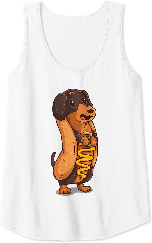 Perro salchicha Hotdog Bun Dachshund Divertido perro Camiseta ...