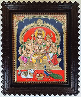 JLine Arts Shiva Family Tanjore Painting (15 Inch x 12 Inch, 22 Carat Gold Foils, Jaipur Stones, Chettinadu V Teak Wood Fr...