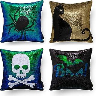 Ashler Halloween Set of 4 Magic Reversible Sequin Mermaid Throw Pillow Covers Spider&Cat&Skeleton&Bats for Haunted House D...
