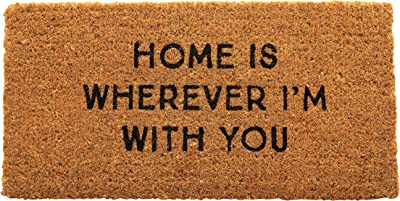 Creative Co-Op Natural Coir Home is Wherever I'm with You Doormat