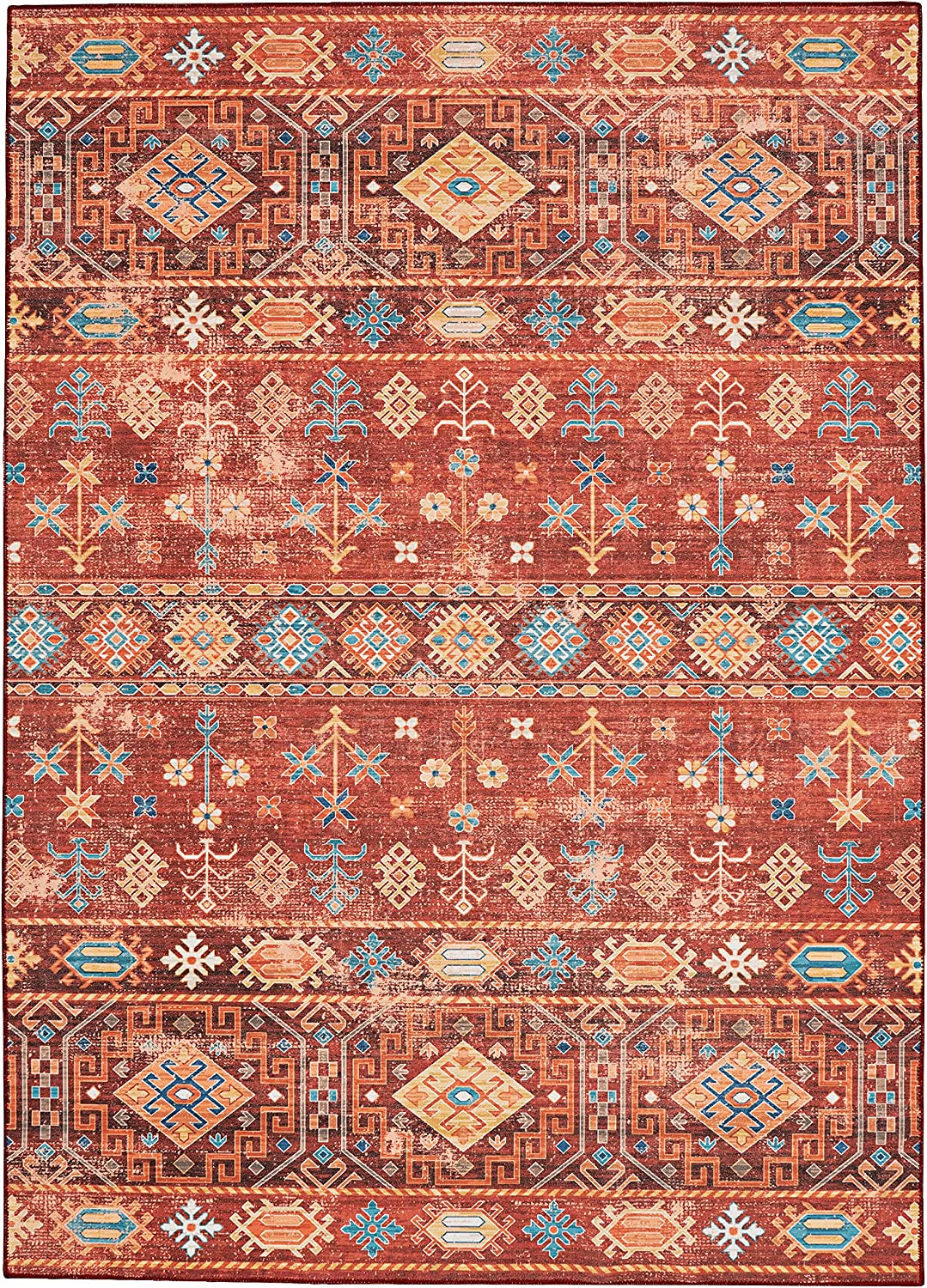 The Anywhere Washable Rug Joelle Red Courier shipping free shipping 7' Tulsa Mall Area X 5' Ivory