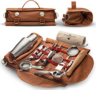 Travel Bartender Kit Bag | Professional 17-piece Bar Tool Set with Stylish Portable Bar Bag and Shoulder Strap for Easy Carry and Storage | Best Travel Bar Set for Home Cocktail Making, Work, Parties