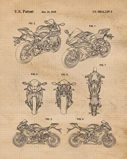 Original Yamaha Motorcycle Collection Patent Poster Prints, Set of 4 (8x10) Unframed Photos, Wall Art Decor Gifts Under 20 for Home, Office, Garage, Man Cave, College Student, Teacher, AMA & Rally Fan