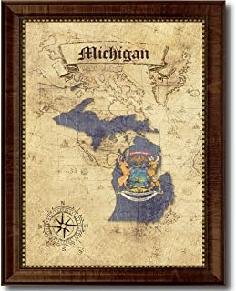 Michigan State Vintage Map Flag Canvas Print with Custom Brown Picture Frame Gifts Home Decor Wall Art Decoration