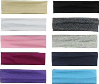 Styla Hair 10 Pack Yoga Headbands - Stretchy Cotton Sports Head Band