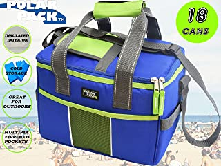 POLAR PACK 18 Can Double Handle Square Box Collapsible Cooler Bag Soft Portable Insulated Picnic Bag Outdoor Indoor Travel Lunch Bag for Camping, School, Travel & Sports (Royal/Lime)