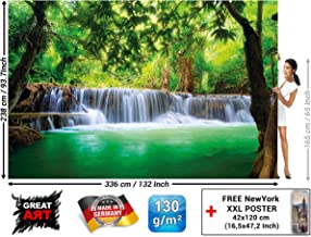 Wall Mural – Waterfall Feng Shui – Picture Decoration Nature Jungle Scenery Paradise Vacation Thailand Asia Wellness Spa Relax Wallposter Wallpaper Decor (132.3 x 93.7 Inch / 336 x 238 cm)