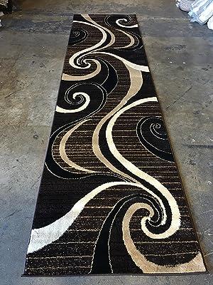 Modern Long Runner Contemporary Area Rug Dark Brown & Black Carpet King Design 344 (32