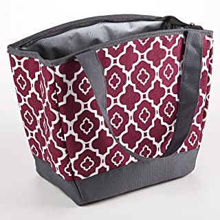 Fit and Fresh 926FFST803 Fit & Fresh Hyannis Insulated Lunch Bag with Reusable Ice Pack (Marron Ikat Geo), 11.5 x 6 x 10.5, Maroon