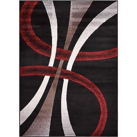 Rug Styles Stripes Geometric Black Cappuccino Area Rugs 4 11 X 6 11 Furniture Decor