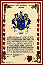 Green Coat of Arms/Crest and Family Name History, meaning & origin plus Genealogy/Family Tree Research aid to help find clues to ancestry, roots, namesakes and ancestors plus many other surnames at the Historical Research Center Store