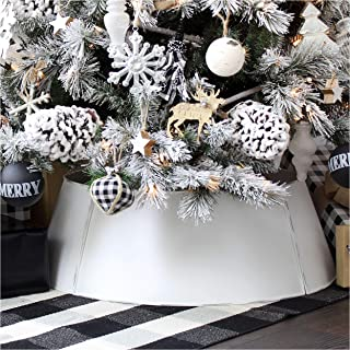 AuldHome White Farmhouse Tree Collar, 30-Inch Diameter Base Metal Vintage Enamelware Christmas Tree Accent, Distressed Retro Style