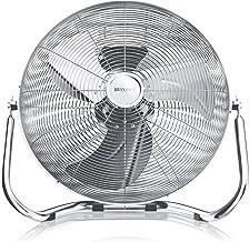 Brandson - Éolienne style rétro 160 W – Ventilateur en chrome – Ventilateur sur pied 50 cm – Ventilateur de sol – Débit d'...