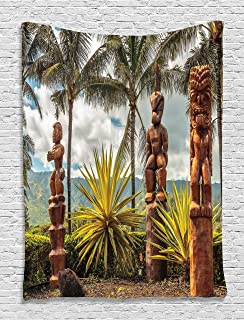 Ambesonne Hawaii Tapestry, Tiki Masks Sculptures and Palm Trees Tropical Island Ocean Ethnic Botanical Print, Wall Hanging for Bedroom Living Room Dorm Decor, 60