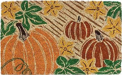 "Entryways  Pumpkin Patch , Hand-Stenciled, All-Natural Coconut Fiber Coir Doormat 18"" X 30"" x .75"""