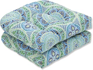 Pillow Perfect Outdoor | Indoor Delancey Lagoon Wicker Seat Cushion (Set of 2), 2 Piece