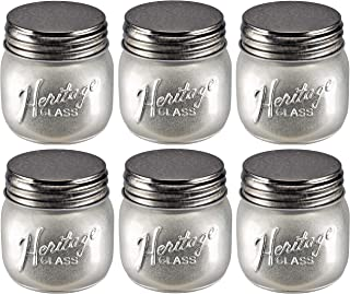 Set of SIX (6) Silver-Colored Heritage Glass Small Mini Mason Jars W/Lids - Half Pint - Decorative Vintage-Look - For Party Decor, Arts and Crafts, Kitchen, Fall-Themed Decor - Bundle of 6-Items