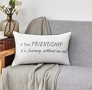 Sunkifover Friendship Gifts Decorative Throw Pillow Cover 12 X 20 Inch for Best Friend-A True Friendship is a Journey Without an end.