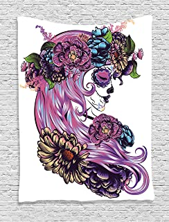 Ambesonne Gothic Decor Collection, Day of the Dead Illustration with Sugar Skull Girl in Decorative Flower Wreath Print, Bedroom Living Room Dorm Wall Hanging Tapestry, Blue Purple Pink