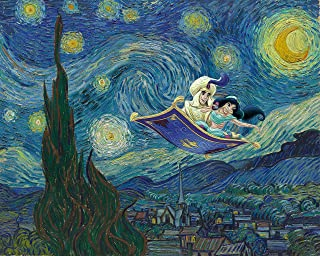 Aladdin and Jasmine Vincent Van Gogh Poster Print - (11 inches x 14 inches) Starry Night Wall Art Decor