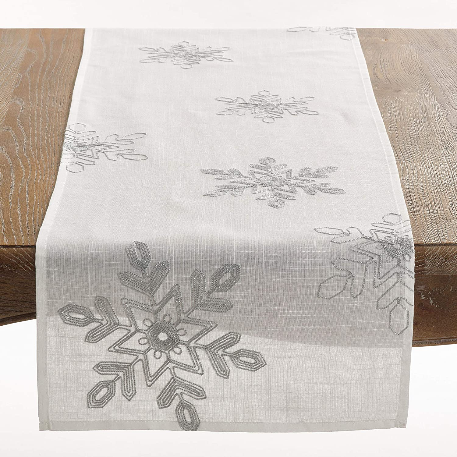 SARO LIFESTYLE Nivalis Collection Snowflakes depot R 70% OFF Outlet Embroidered Table