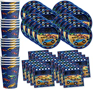 Birthday Galore Monster Truck Party Supplies Set Plates Napkins Cups Tableware Kit for 16