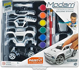 Modarri Delux Paint It Auto Design Studio | Paint and Build Your own Toy Car | Creative STEM and Art Craft Kit | Includes Paints and Brushes | Make Model Cars | Girls and Boys Gifts Age 5-10