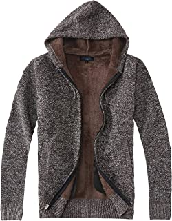Gioberti Men's Full Zip Knitted Regular Fit Cardigan Sweater with Sherpa Lining