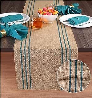 Ramanta Home 2-Pack Rustic Farmhouse Stripe Burlap Jute Table Runners 14x90 Natural with Teal Stripe