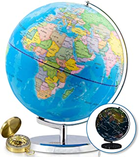 """World Globe with Illuminated Constellations – 13"""" Light Up Globe For Kids & Adults – Interactive Earth Globe Makes Great Educational Toys, Office Supplies, Teacher Desk Décor, More by Get Life Basics"""