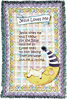 Pure Country Weavers | Jesus Loves Me Purple Border Woven Tapestry Throw Blanket with Fringe Cotton USA 35x54