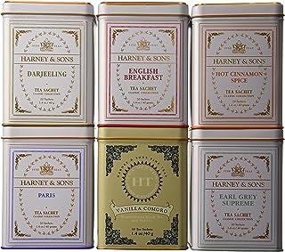 Harney & Sons Tea Tins Variety Pack - Hot Cinnamon Spice, English Breakfast, Paris, Vanilla Comoro, Earl Grey Supreme, Darjeeling