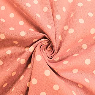 Peach Polka Dot 58`` Chambray Cotton Fabric by The Yard or Sample Swatch (Yard)