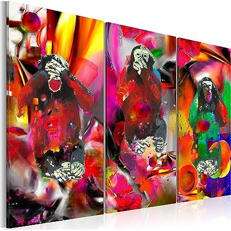 B&D XXL murando Impression sur Toile intissee 120x80 cm 3 Pieces Tableau Tableaux Decoration Murale Photo Image Artistique Photographie Graphique Abstrait Animaux Singe g-A-0106-b-e