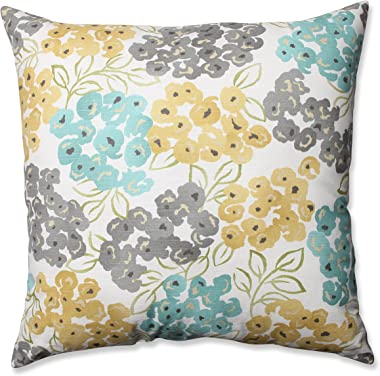Pillow Perfect Luxury Floral Pool Floor Pillow, 24.5-Inch,Aqua|grey Yellow