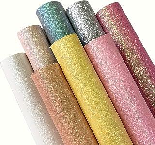 "ZAIONE 8 pcs A4 (8"" x 12"") Sheets ColorfulPastel Fine Glitter Vinyl Fabric Sparkle Leather Material Crafts Bow Decor Plain..."