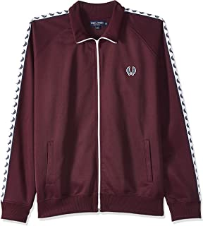 Fred Perry Men's Taped Track Jacket, Red (Mahogany), Large