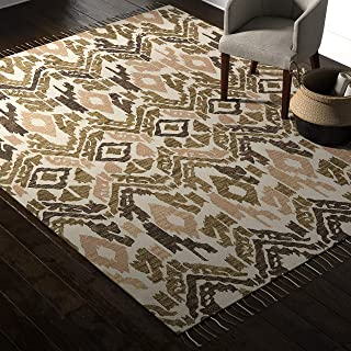 Rivet Modern Global Ikat Rug, Handtufted Cotton and Wool, 8' x 10', Distressed Olive, Beige and Cream
