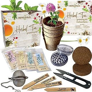 Herbal Tea Indoor Garden Seed Starter Growing Kit Gardening Gifts for Men and Women - Plant Peppermint, Lemon Balm, Chamom...