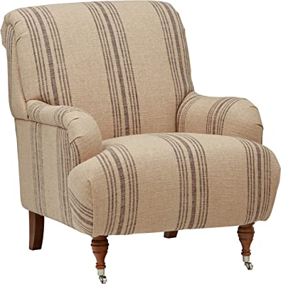 "Amazon Brand – Stone & Beam Aubree Farmhouse Accent Chair, 32""W, Striped Grey Linen"