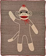 Green 3 Recycled Cotton Large Throw Blanket Sock Monkey Brown/Red