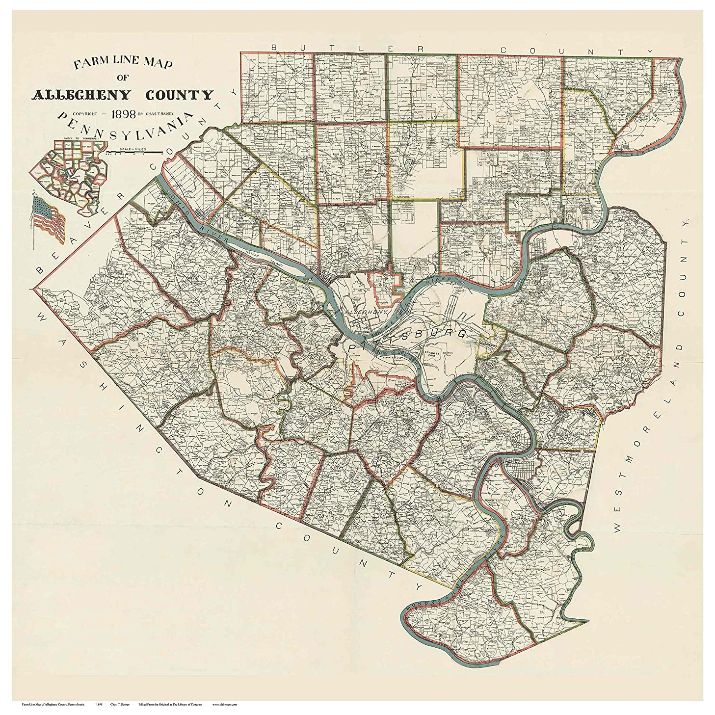 Allegheny County Pennsylvania 1898 - Wall Map with Homeowner Names - Old Map Reprint