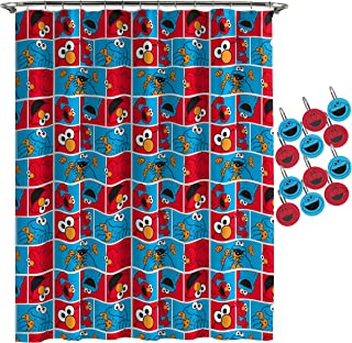 Jay Franco Sesame Street Elmo Cookie Squares Shower Curtain & 12-Piece Hook Set & Easy Use - Kids Bath Features Elmo & Cokie Monster (Official Sesame Street Product)