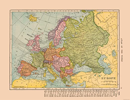 Amazon Com Maps Of The Past Europe Hammond 1910 23 00 X 29 73 Glossy Satin Paper Posters Prints