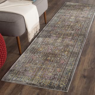 Safavieh Valencia Collection VAL108C Grey and Multi Vintage Distressed Silky Polyester Runner Rug (2'3