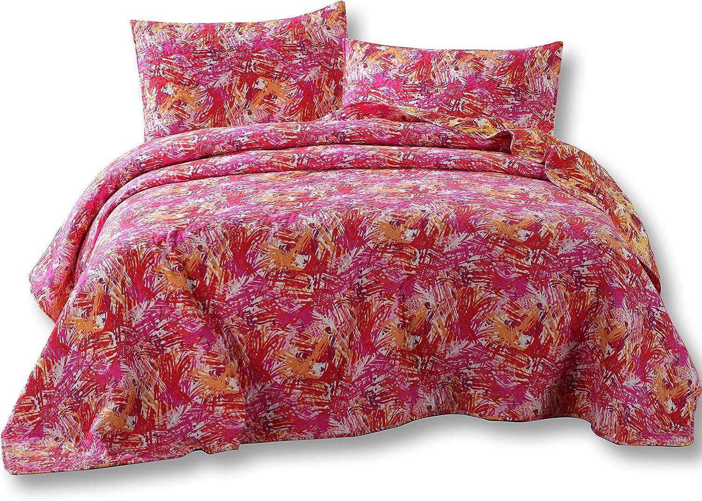 DaDa Bedding Fall Reversible Bedspread Set - Hawaiian Star Burst Pop Hawaiian Multi colorful - Bright Vibrant Pink orange Purple - Queen - 3-Pieces